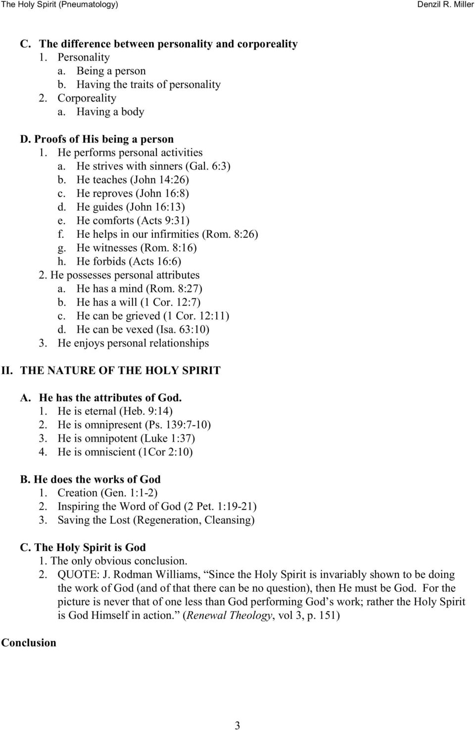 The Holy Spirit  (Pneumatology) Complete Lecture Notes - PDF