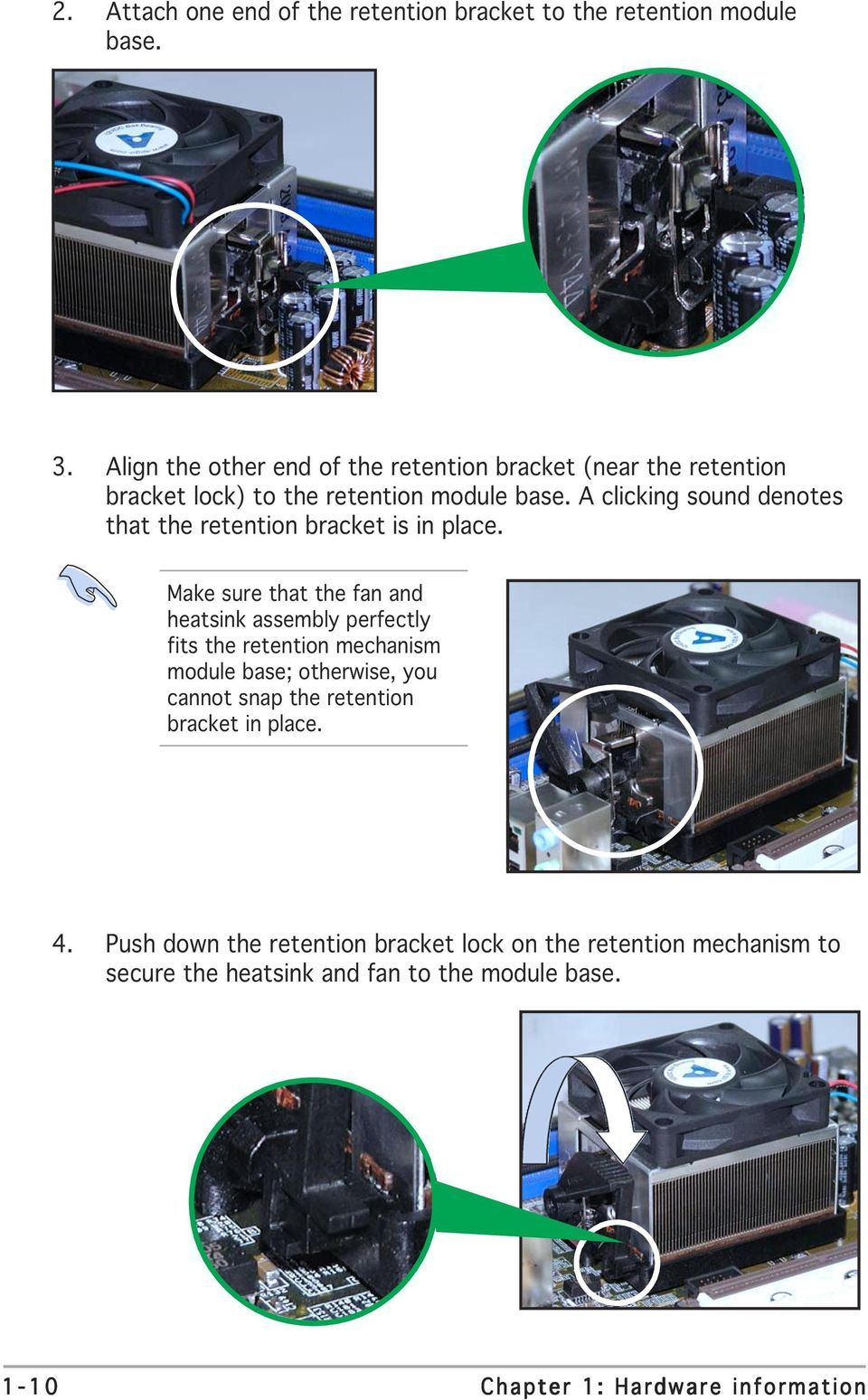 A8n Sli Motherboard Pdf Diagram Of How All The Components Are Placed On Asus Cubx A Clicking Sound Denotes That Retention Bracket Is In Place