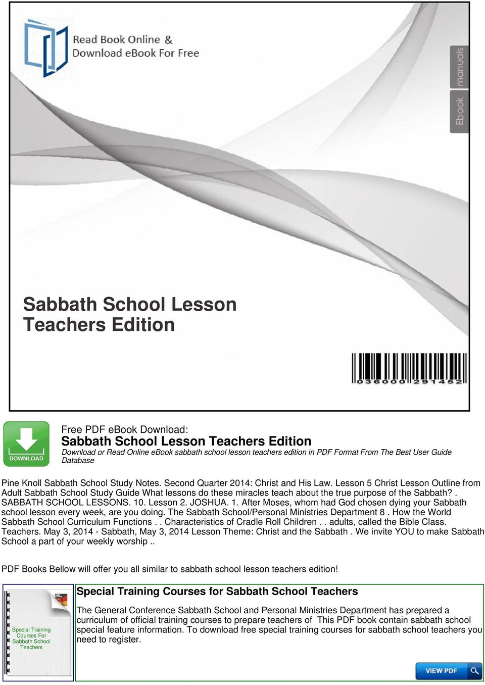 sabbath school lesson teachers edition pdf rh docplayer net Teachers Sabbath School Lessons Junior Sabbath School Lesson
