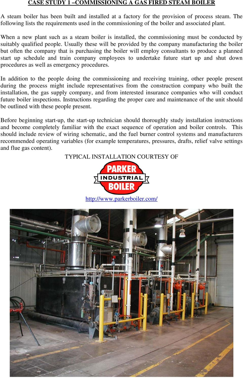 CASE STUDY 1 COMMISSIONING A GAS FIRED STEAM BOILER - PDF
