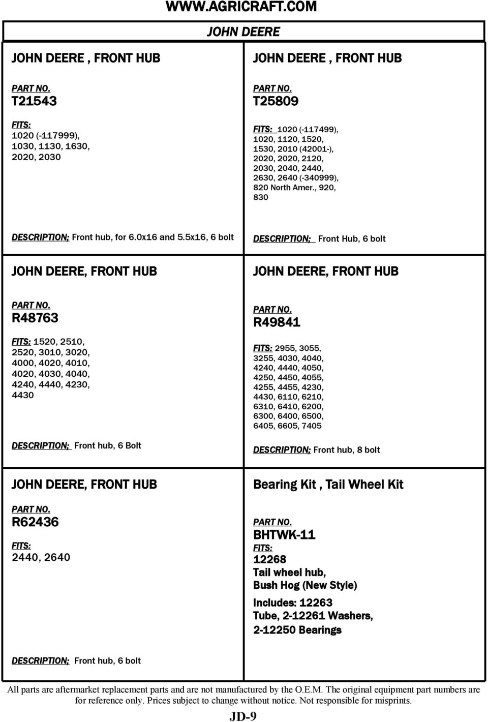 Replacement Parts John Deere Pdf 4250 Wiring Diagram 5x16 6 Bolt Front Hub R48763