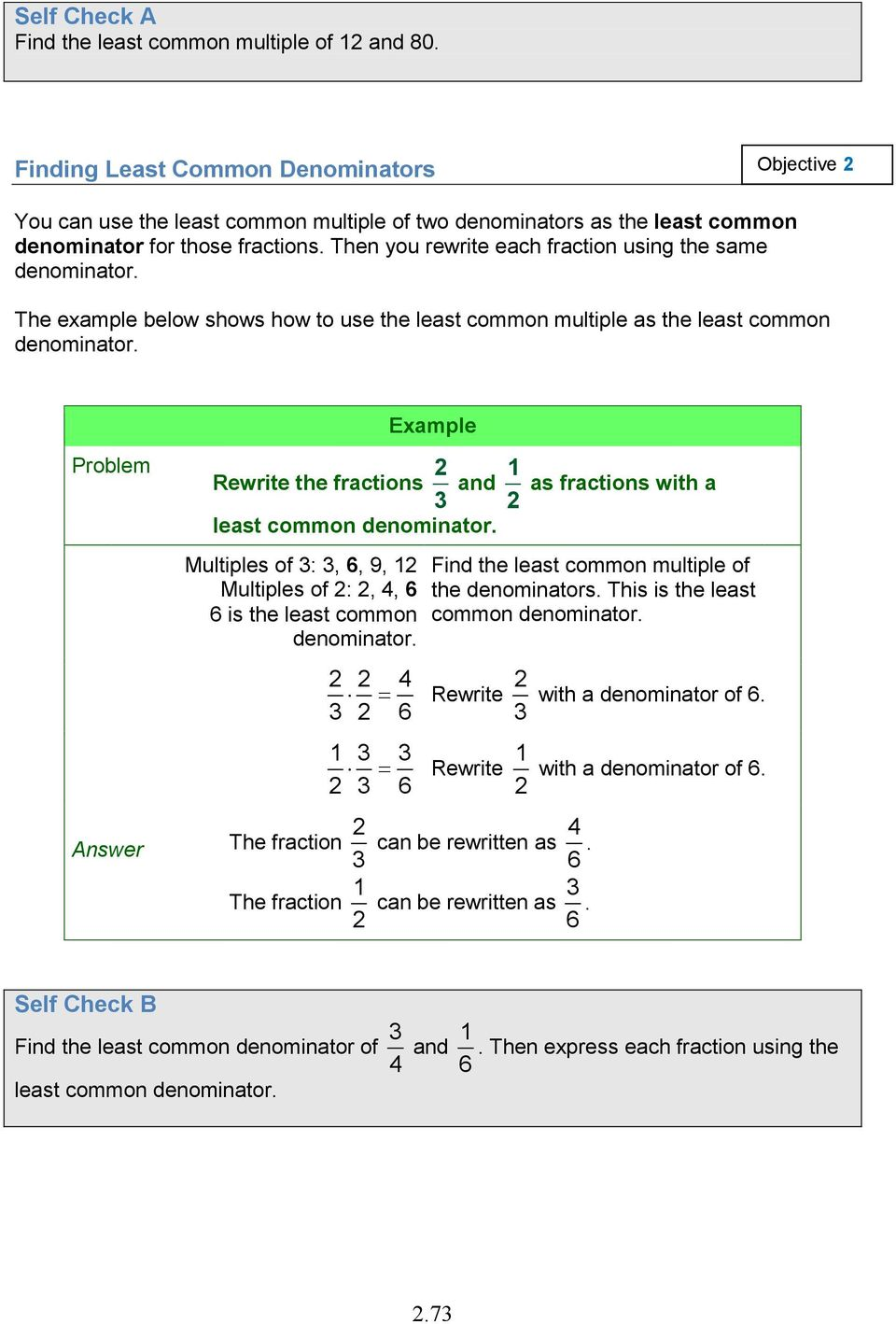 2.6 adding and subtracting fractions and mixed numbers with unlike