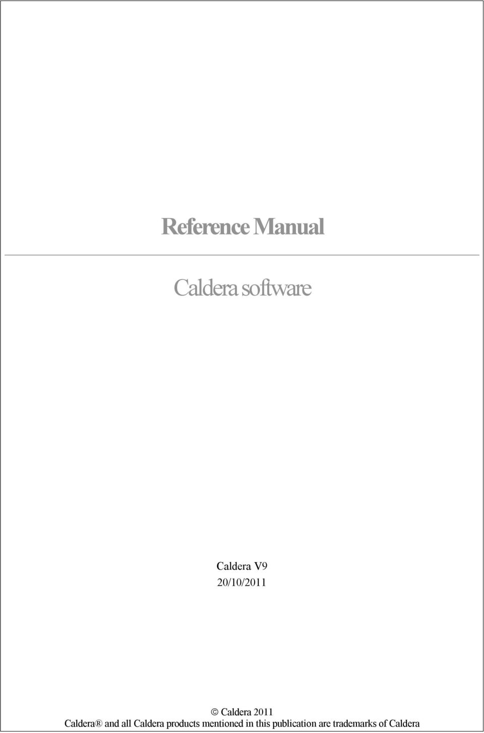 Reference Manual  Caldera software - PDF