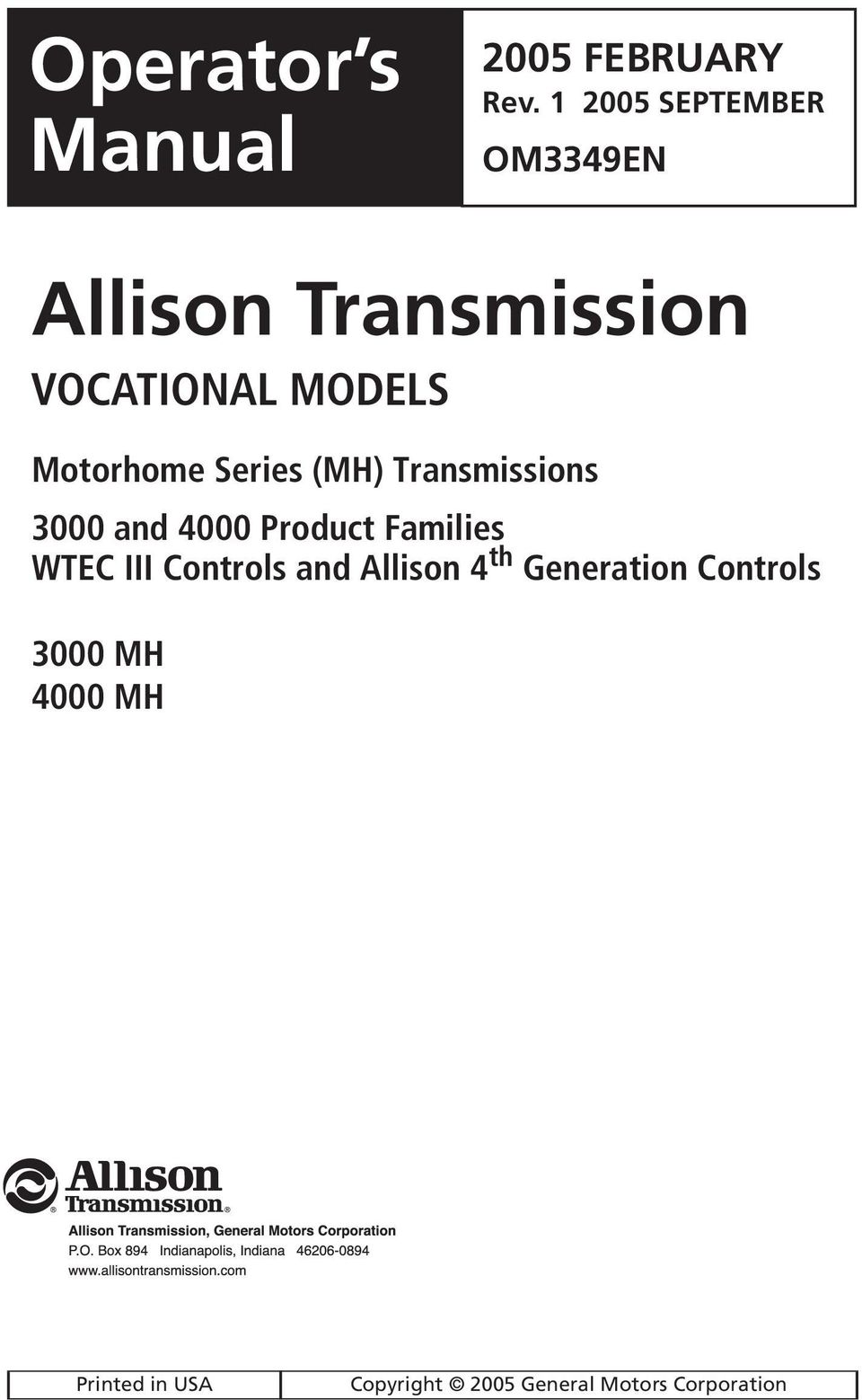 Motorhome Series 3000 4000 Operator S Manual Pdf Allison Wiring Diagram Mh Transmissions And Product Families Wtec