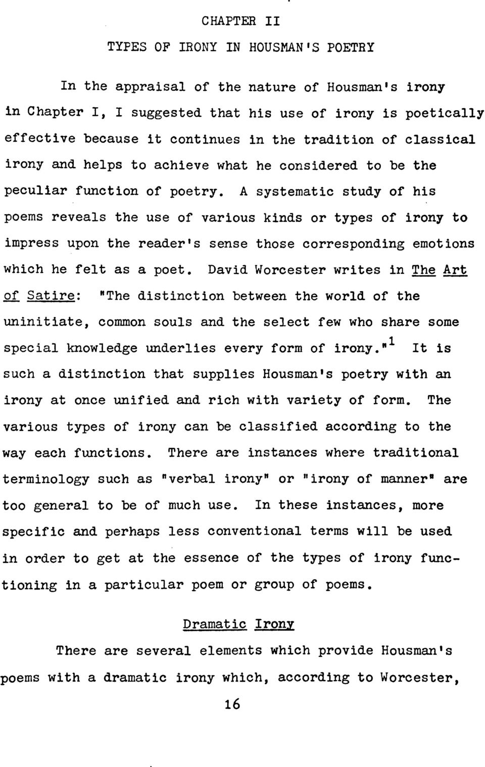 A Study Of Irony In The Poetry Of A E Housman A Thesis In