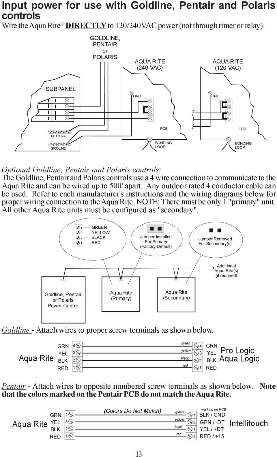 Operation And Installation Manual Aqr Pdf Hayward Aqua Rite Wiring Diagram Pentair Polaris Controls Use A 4 Wire Connection To Communicate The