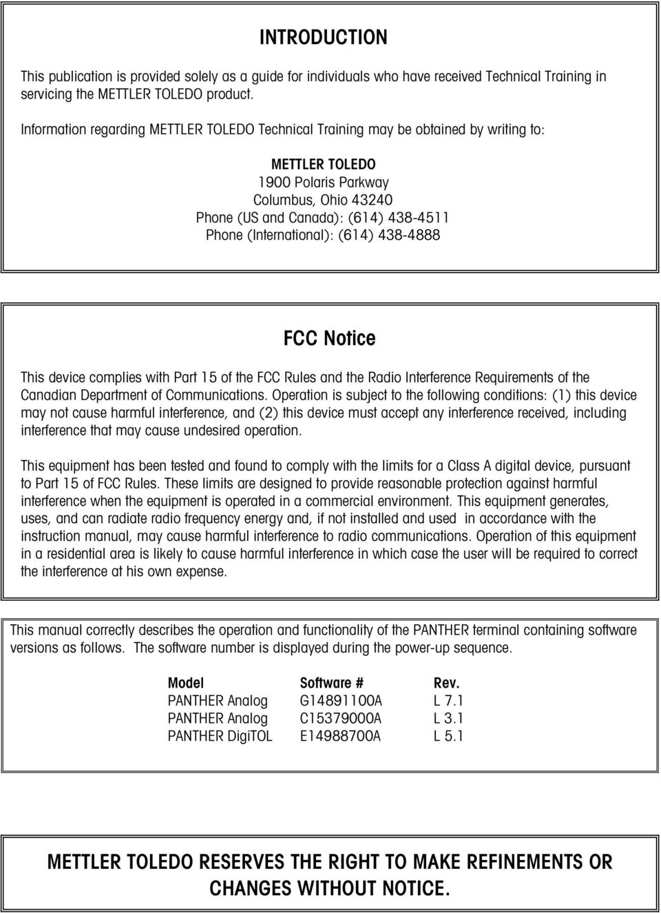 Terminal Technical Manual Pdf Mettler Toledo Wiring Diagram International 614 438 4888 Fcc Notice This Device Complies With