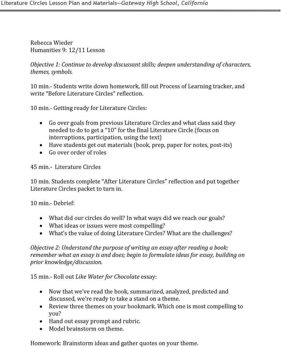 Good Synthesis Essay Topics  Humanities  Literature Circles What Are Literature Circles Literature  Circles Are Small Studentled Group Discussions In Which Each Group Member  Has A  College Vs High School Essay Compare And Contrast also Health Essay Literature Circles Lesson Plan And Materials  Pdf Essay Examples High School