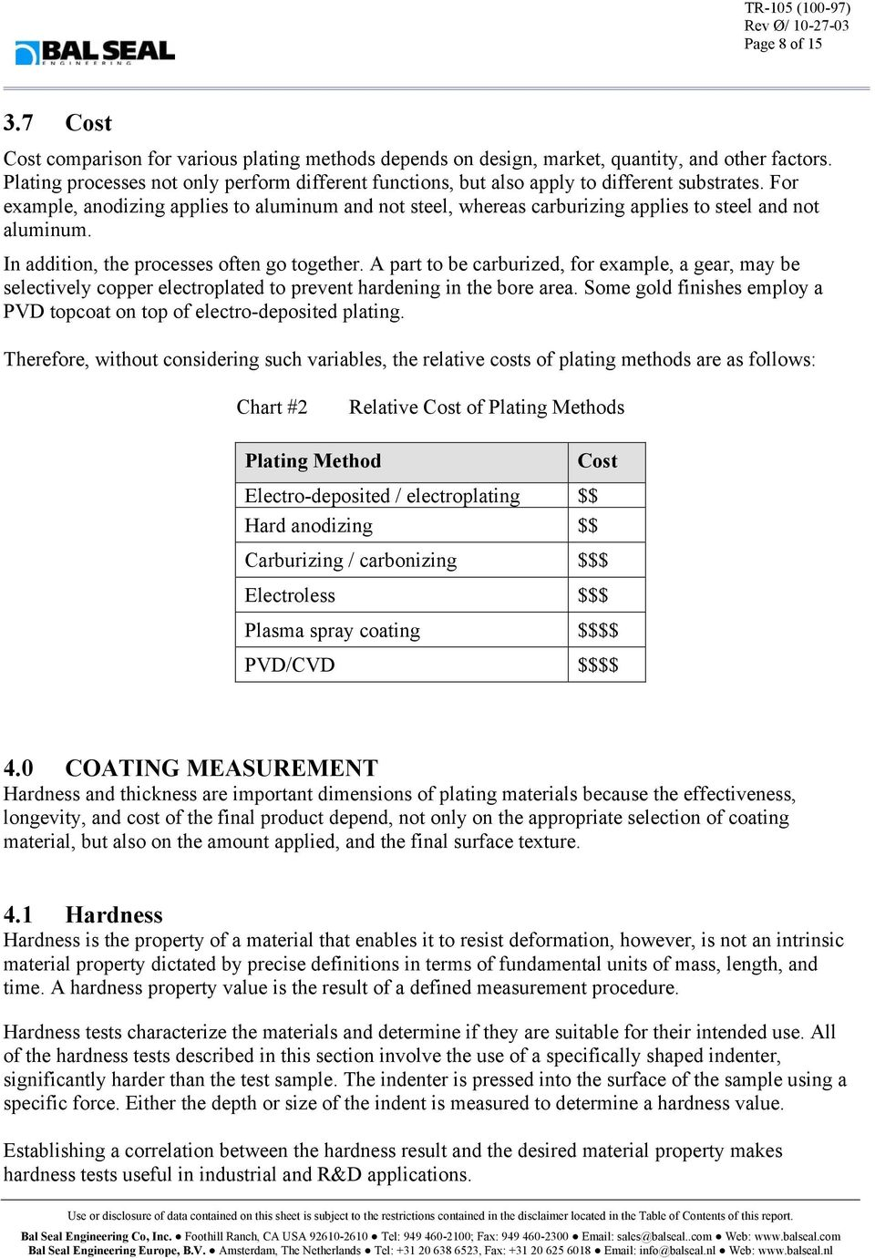 METAL PLATING PROCESSES AND METHODS OF MEASURING SURFACE HARDNESS