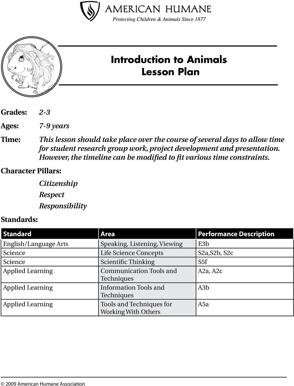 Introduction to Animals Lesson Plan - PDF