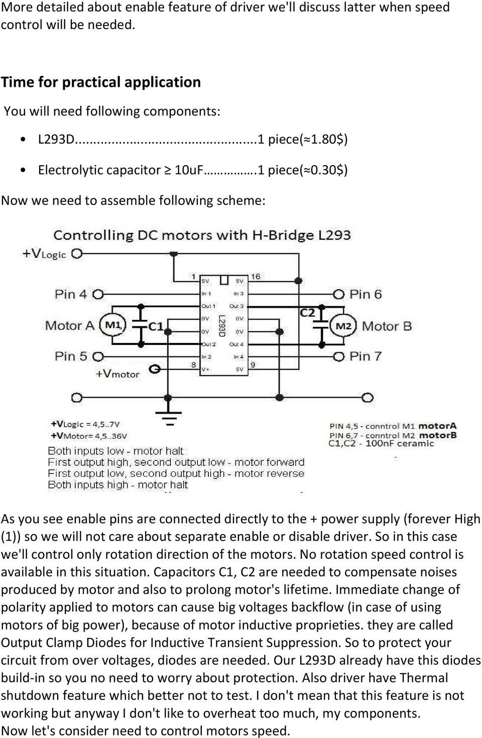Dc Motors Direction And Speed Control Byroman Pdf Is The Bidirectional Motor Circuit Which Allows Forward Reverse 30 Now We Need To Assemble Following Scheme As You See Enable Pins