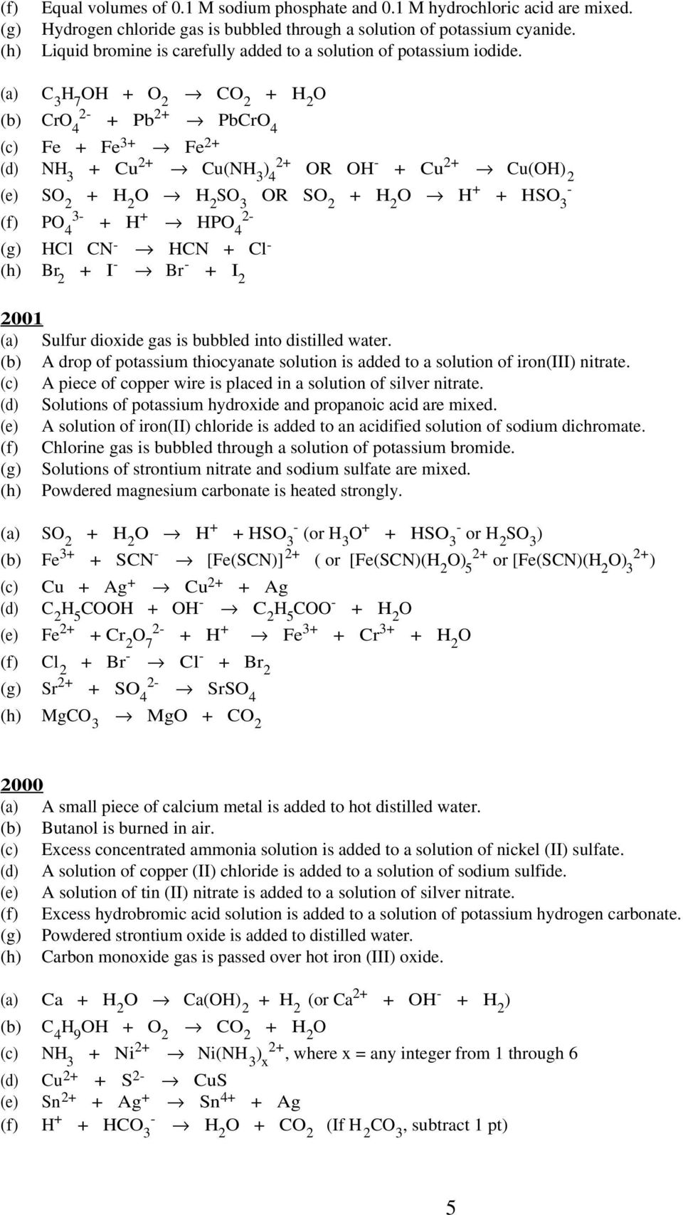 AP Chemistry Exam Reactions: Questions and Answers - PDF