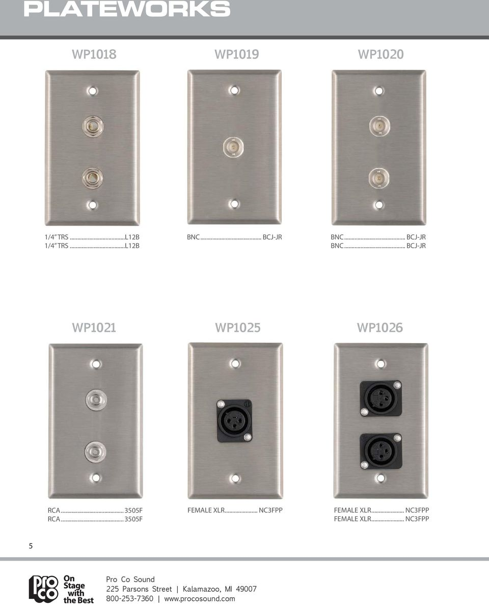 """Stainless Steel Wall Plate with Two Neutrik NCJ6FI-S Combo XLR//1//4/"""" Connectors"""