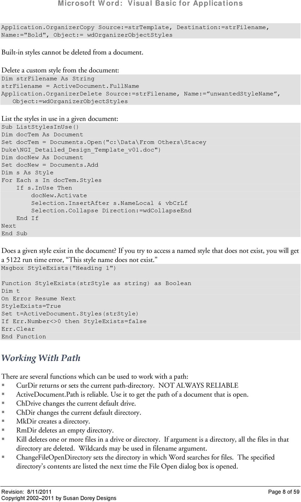 Microsoft Word: Visual Basic for Applications  See also