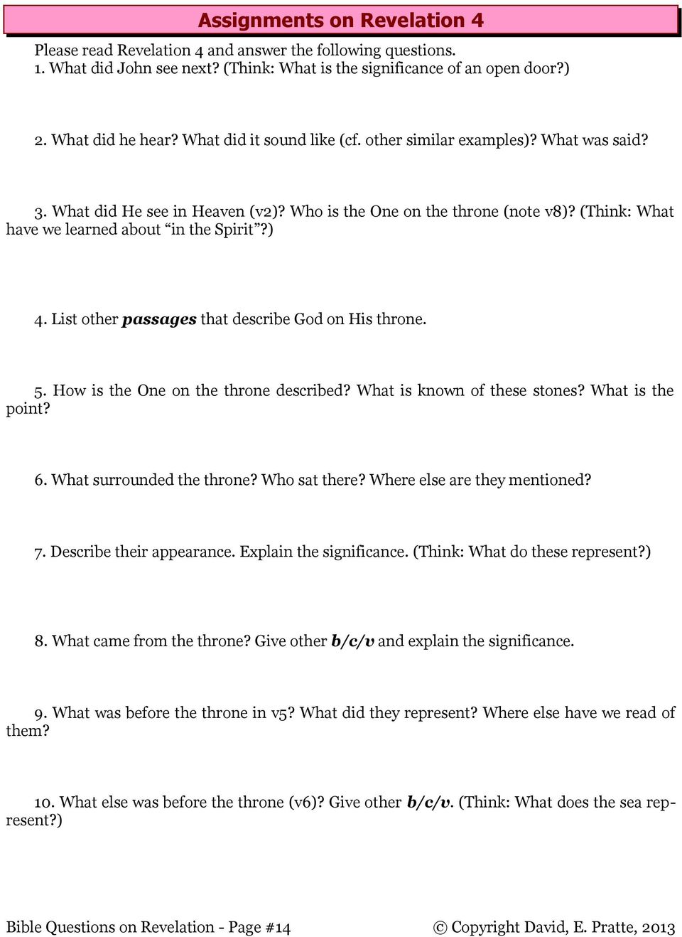 Bible Study Questions on the Book of Revelation by David E