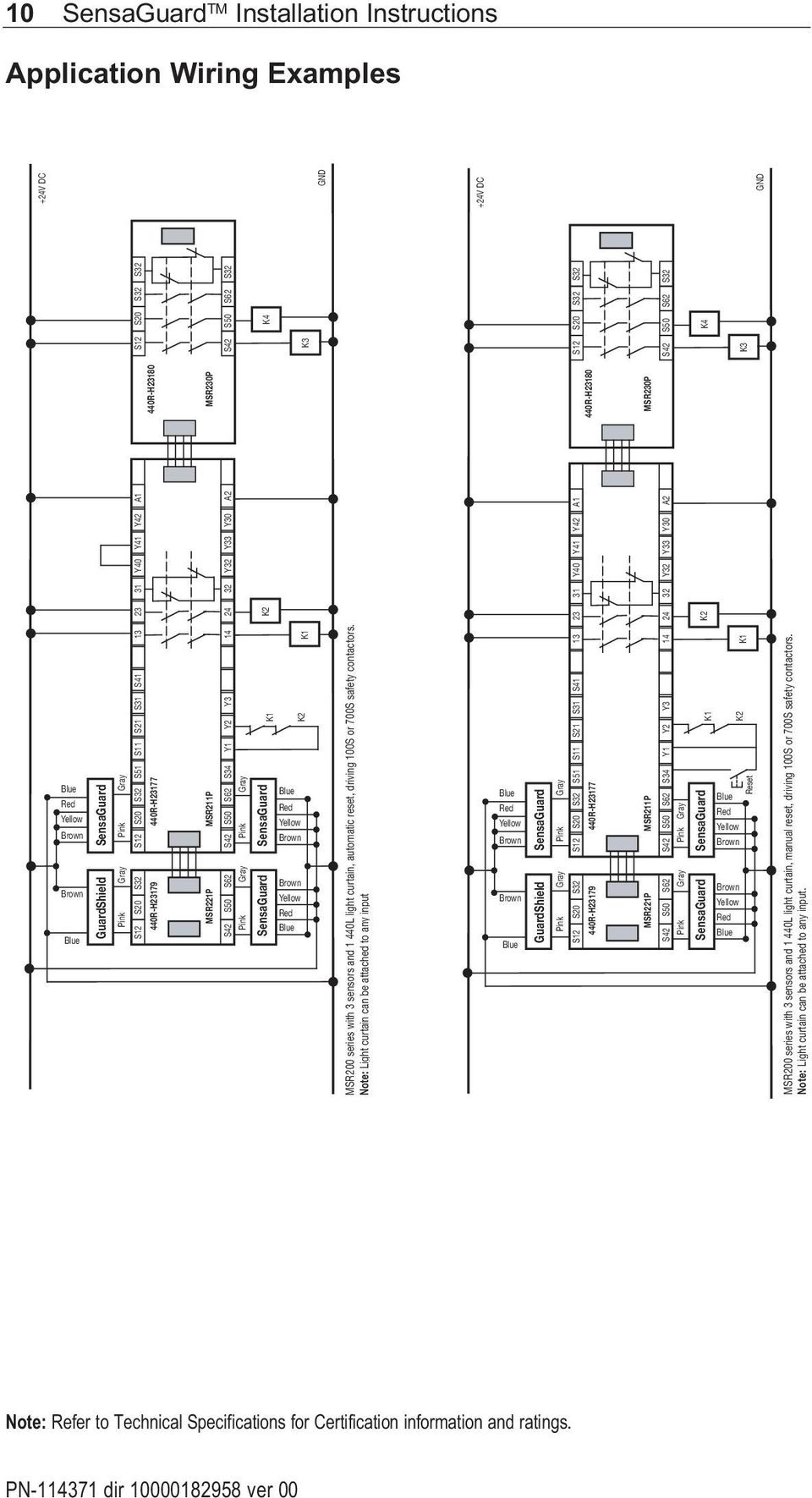 Honeywell Fta Wiring 23y Diagrams Sensaguard Tm Rectangular Flat Pack Installation Instructions Pdf 700s Safety Contactors