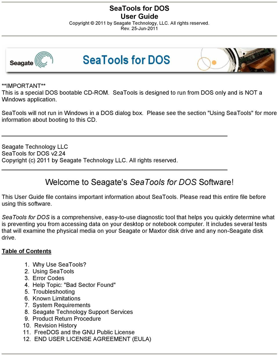 Welcome to Seagate's SeaTools for DOS Software! - PDF