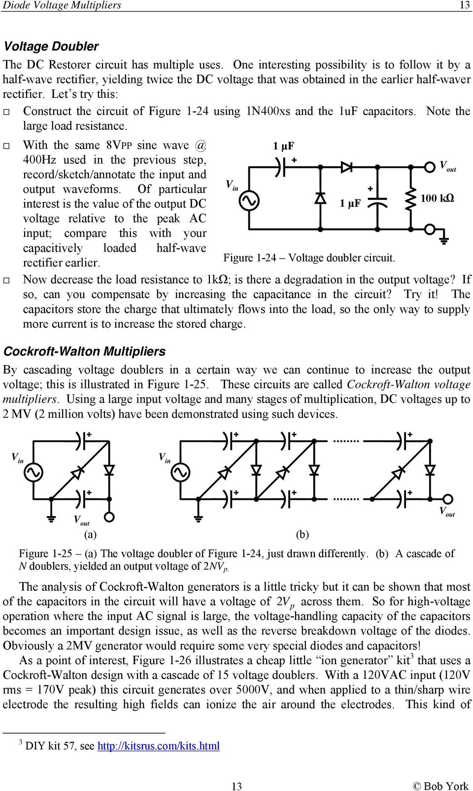 Diode Circuits Lab 1 Overview Table Of Contents Ece 2b Pdf Voltage Multipliers Let S Try This Construct The Circuit Figure 24 Using 1n400xs And