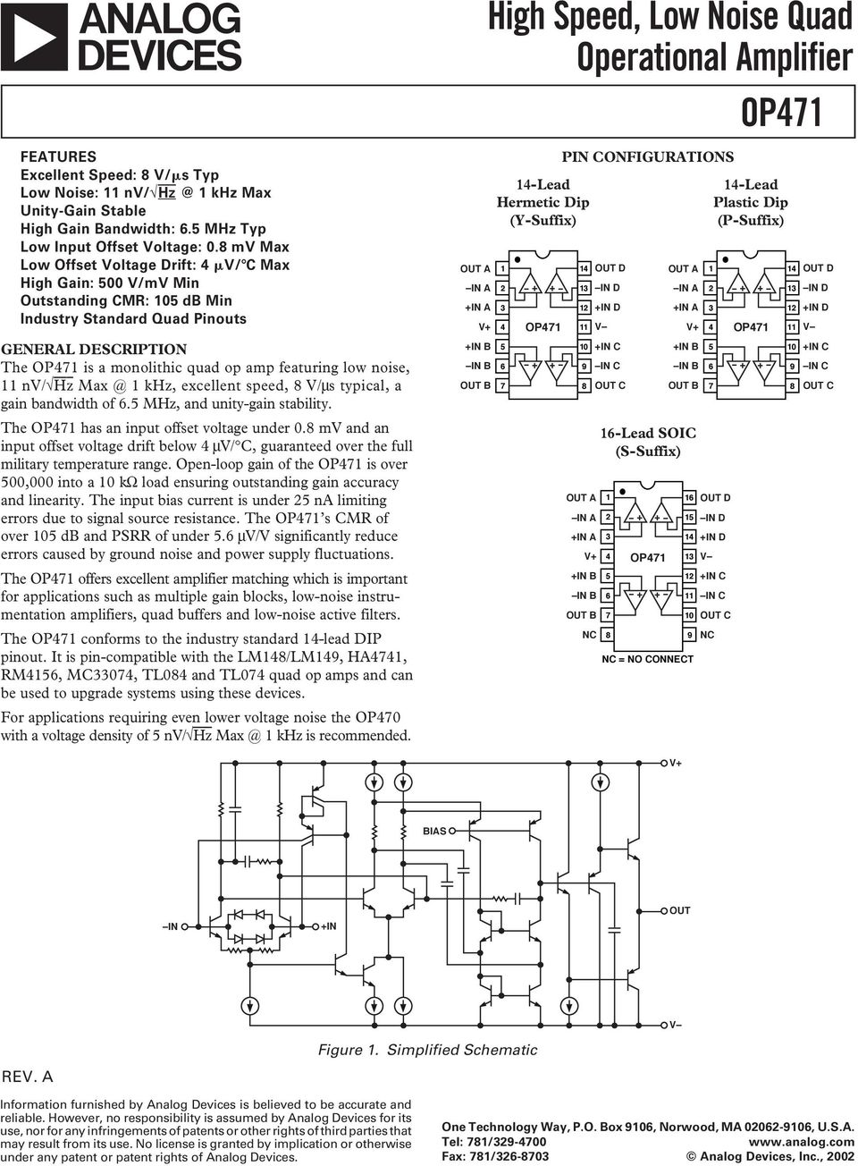 High Speed Low Noise Quad Operational Amplifier Op471 Pdf Mic Preamp Using Ne5534 Ic Circuit Diagram Max Khz Excellent V Ms Typical A Gain Bandwidth Of