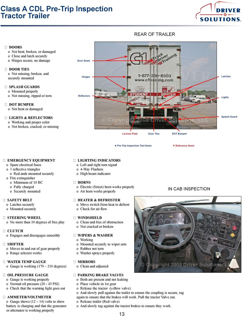 Class A Cdl Pre Trip Inspection Tractor Trailer Pdf 04 Duramax Fuel Filter Housing Dot Bumper Emergency Equipment O Spare Electrical Fuses 3 Reflective Triangles Red Ands Mounted
