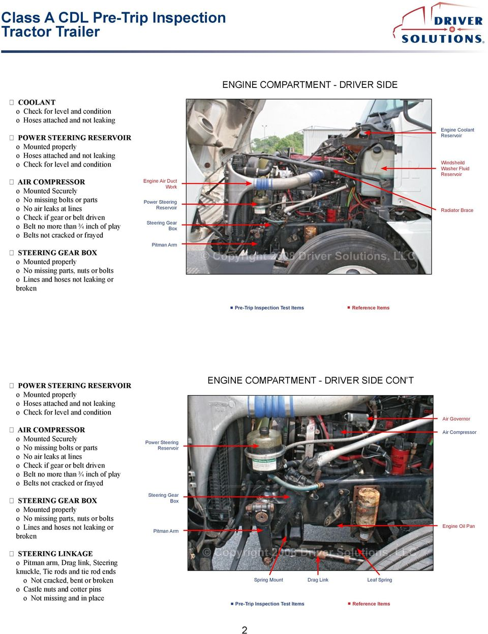 Class A Cdl Pre Trip Inspection Tractor Trailer Pdf