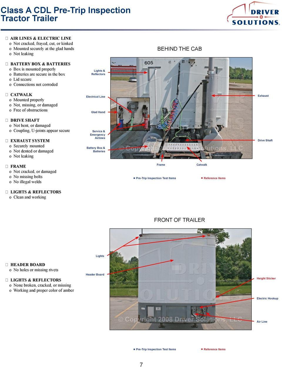 Class A Cdl Pre Trip Inspection Tractor Trailer Pdf 04 Duramax Fuel Filter Housing Or Damaged Lights Reflectors Electrical Line Glad Hand Service Emergency Airlines Battery Box