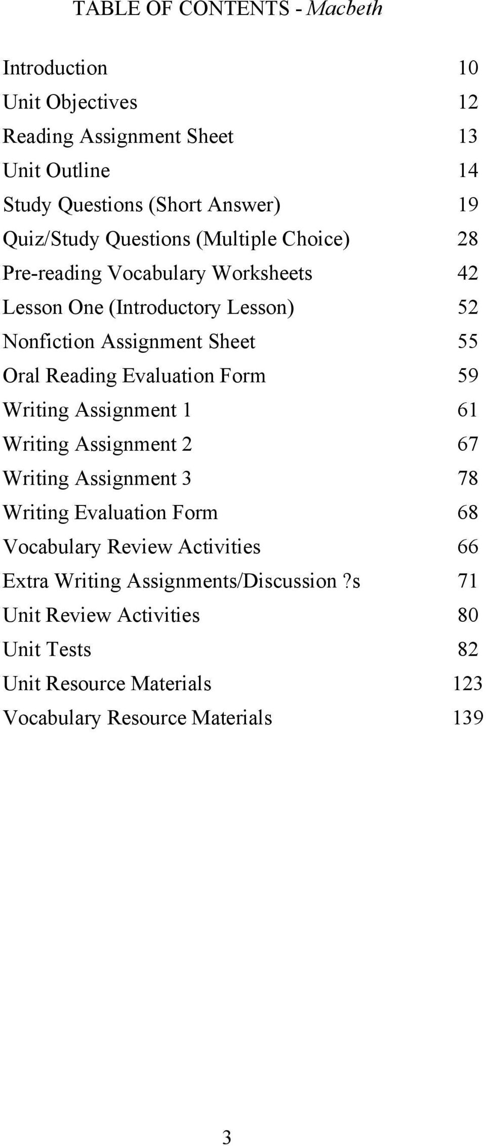 Oral Reading Evaluation Form 59 Writing Assignment 1 61 Writing Assignment  2 67 Writing Assignment 3