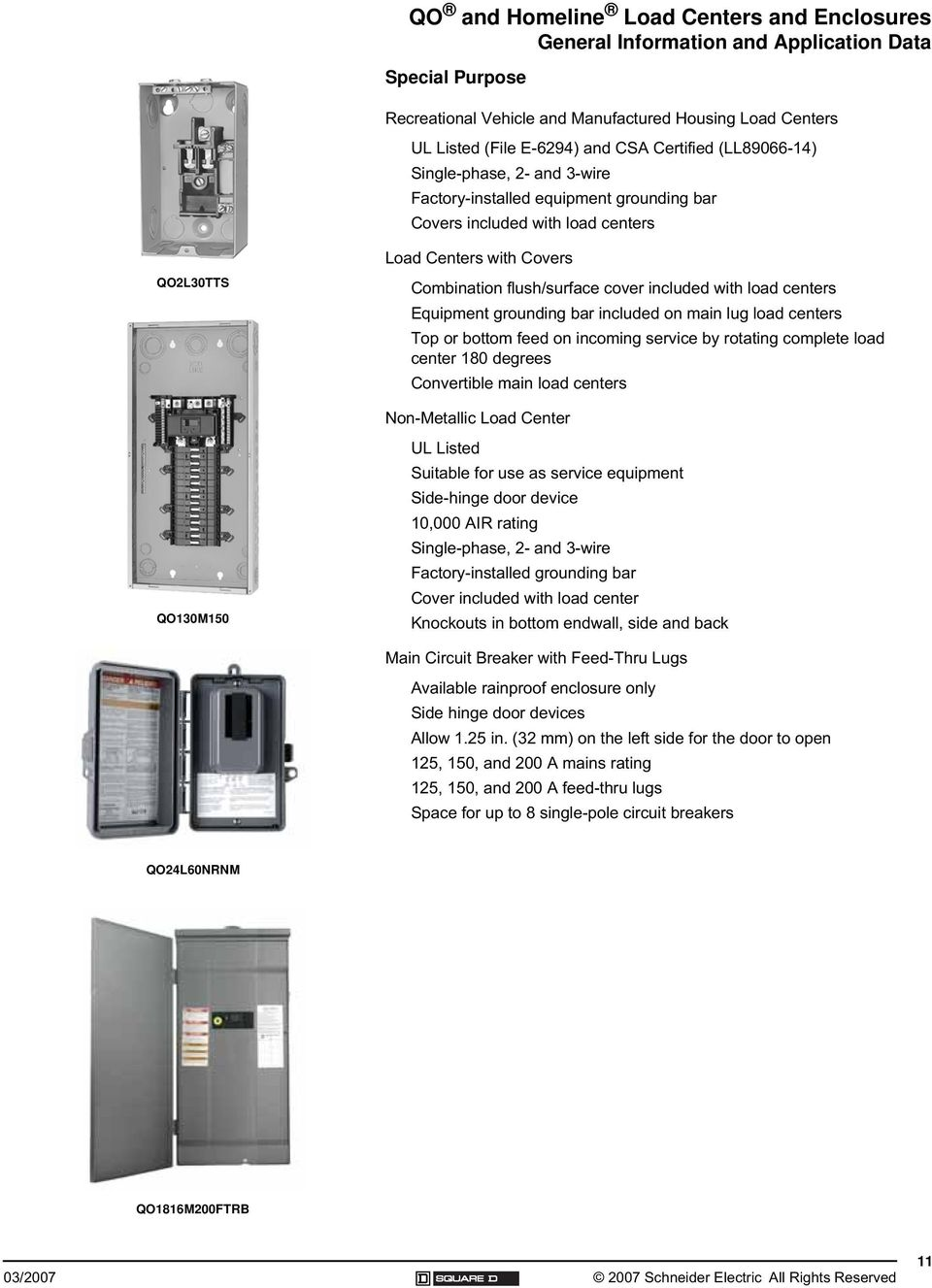 Qo And Homeline Load Centers Enclosures Pdf Space 8circuit Outdoor Singlephase Main Lug Circuit Breaker Panel Equipment Grounding Bar Included On Top Or Bottom Feed