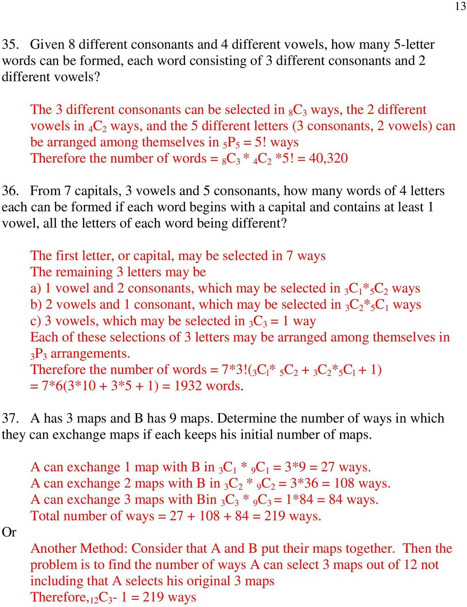 Ma40s Applied And Pre Calc Permutations And Combinations Summary And