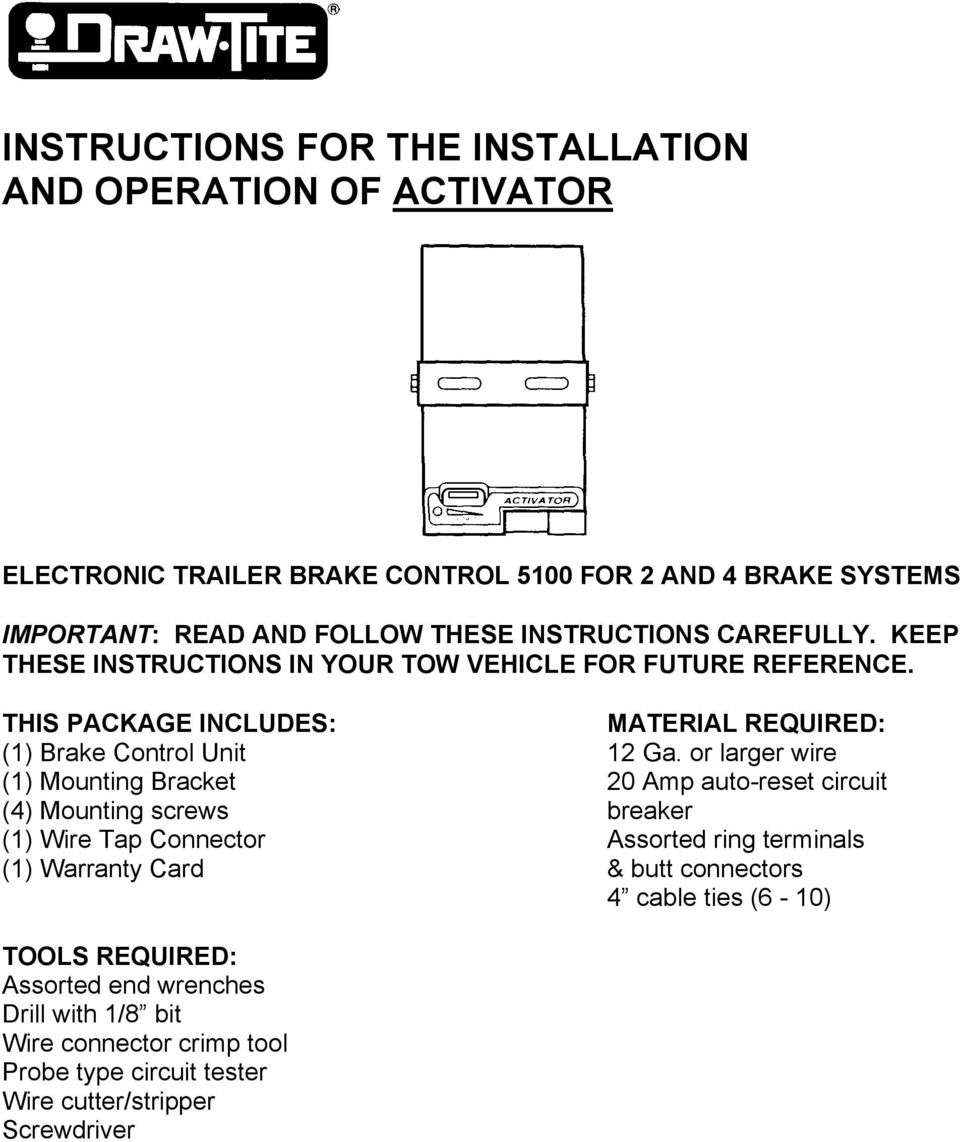 Instructions For The Installation And Operation Of Activator Pdf Trailer Wiring Connector Bracket Or Larger Wire 1 Mounting 20 Amp Auto Reset Circuit 4