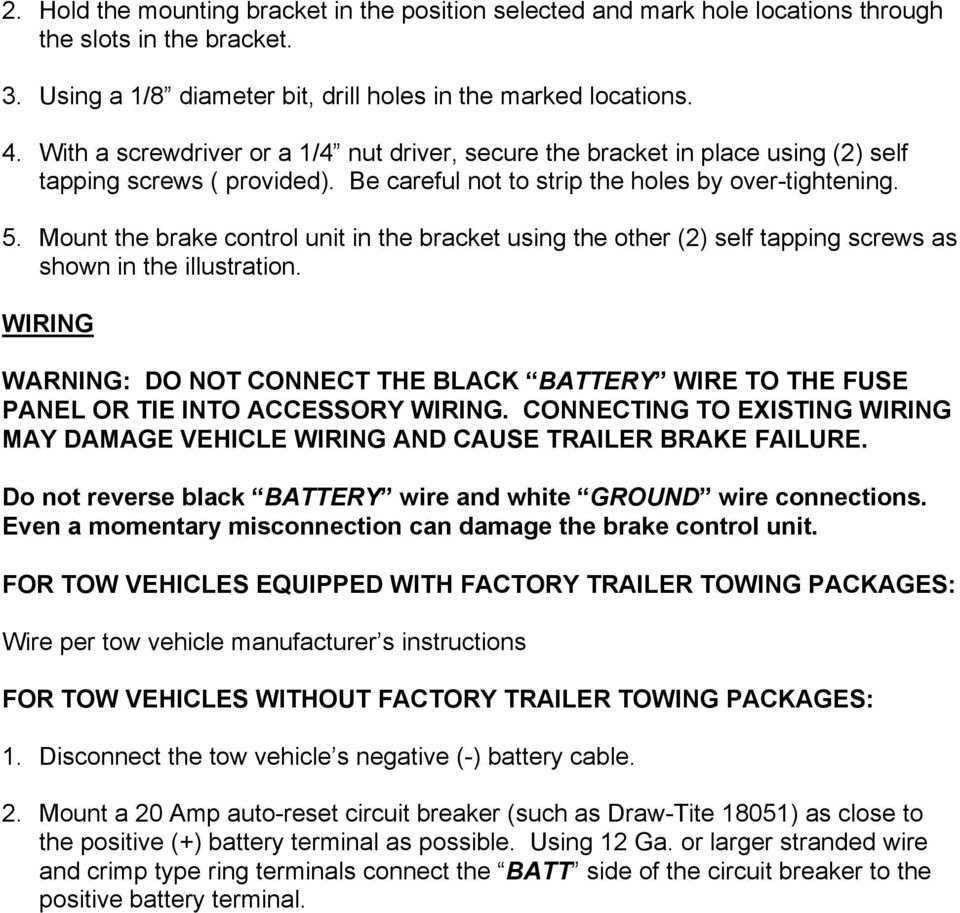 Instructions For The Installation And Operation Of Activator Pdf 2012 Kia Sedona Trailer Tow Wiring Harness Mount Brake Control Unit In Bracket Using Other 2 Self Tapping