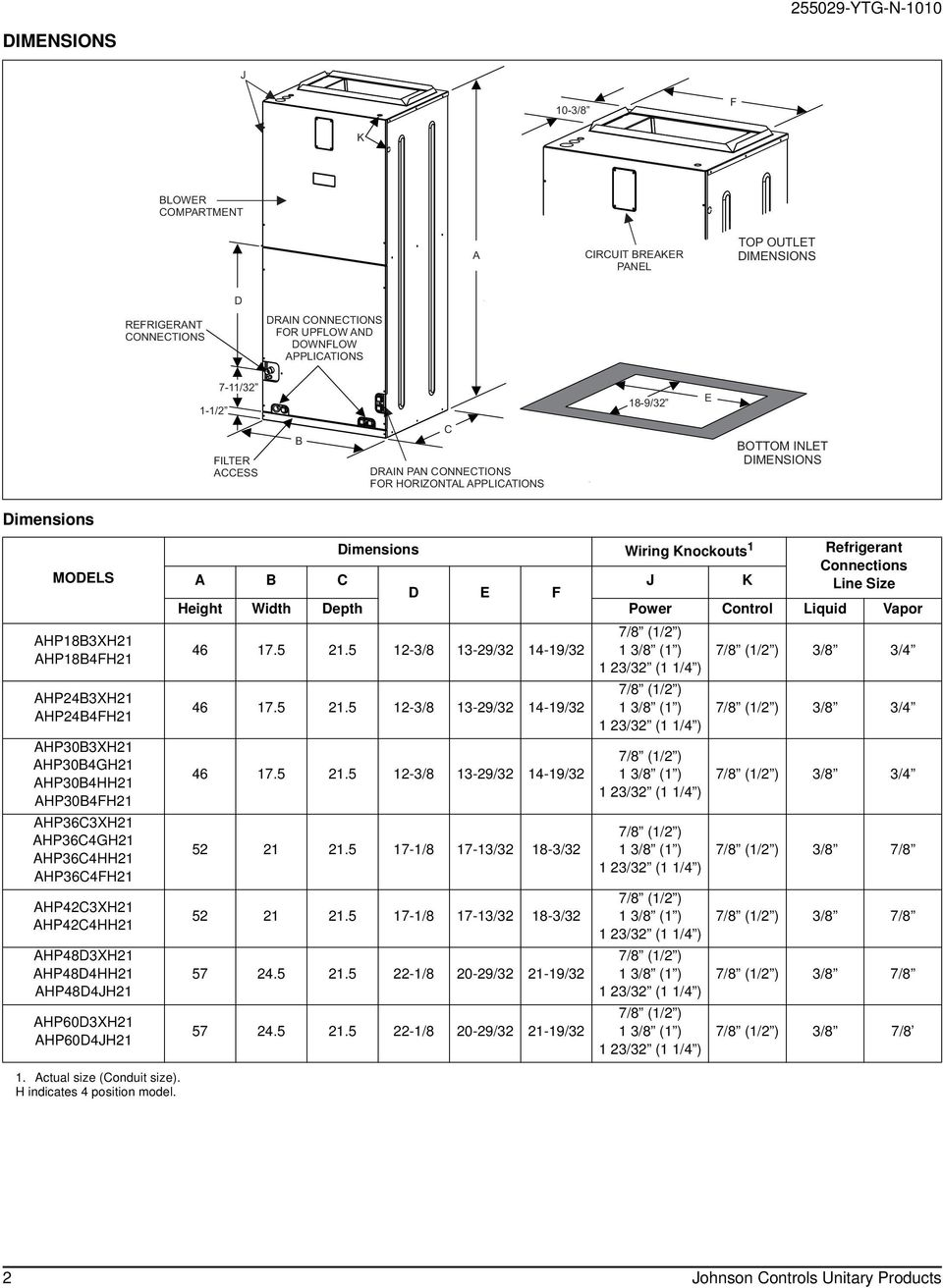 York Ahp60d3xh21 Air Handler Wiring Diagram Schematics Central Technical Guide Single Piece Handlers For Use With Split System Rh Docplayer Net Thermostat Coleman