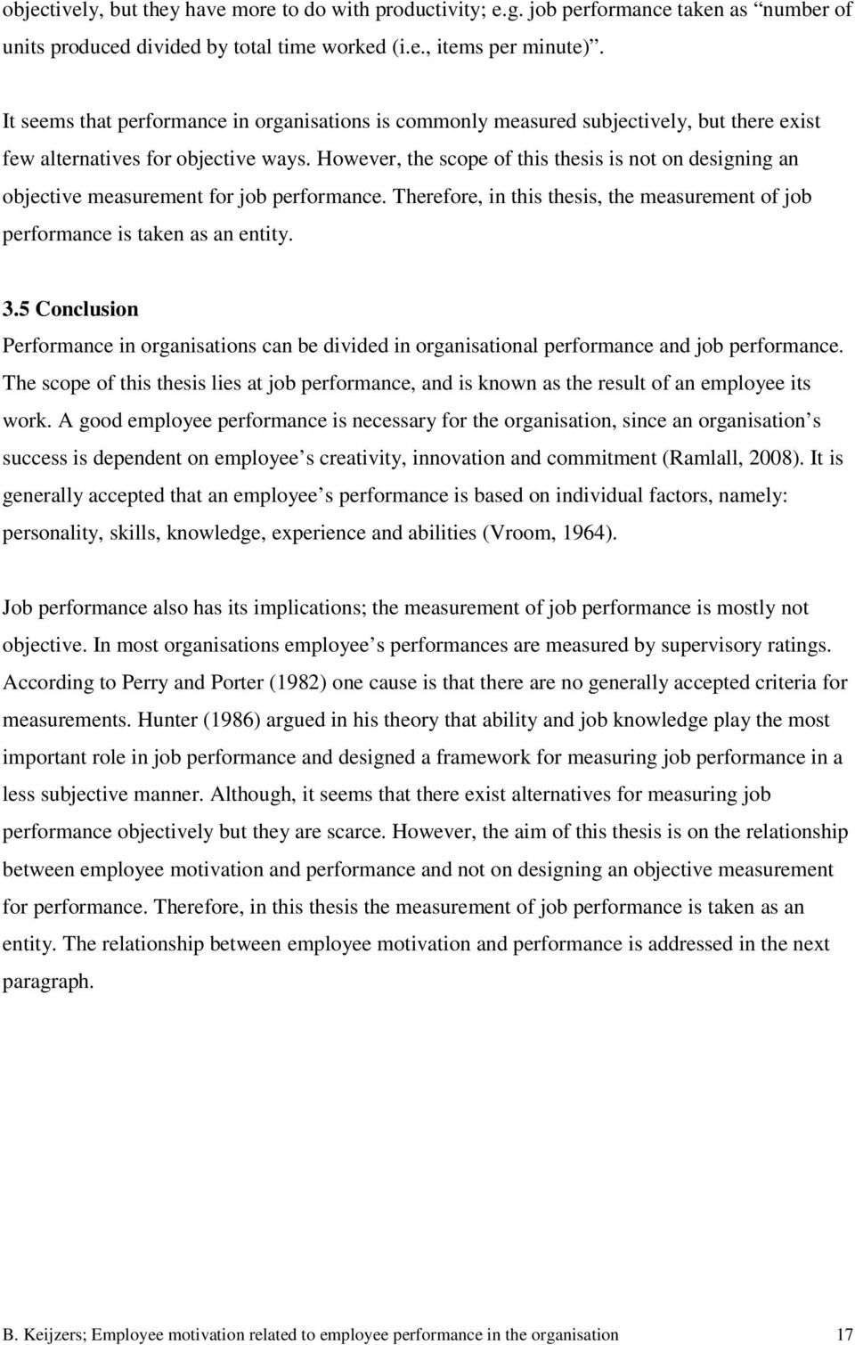 thesis on employee motivation and performance