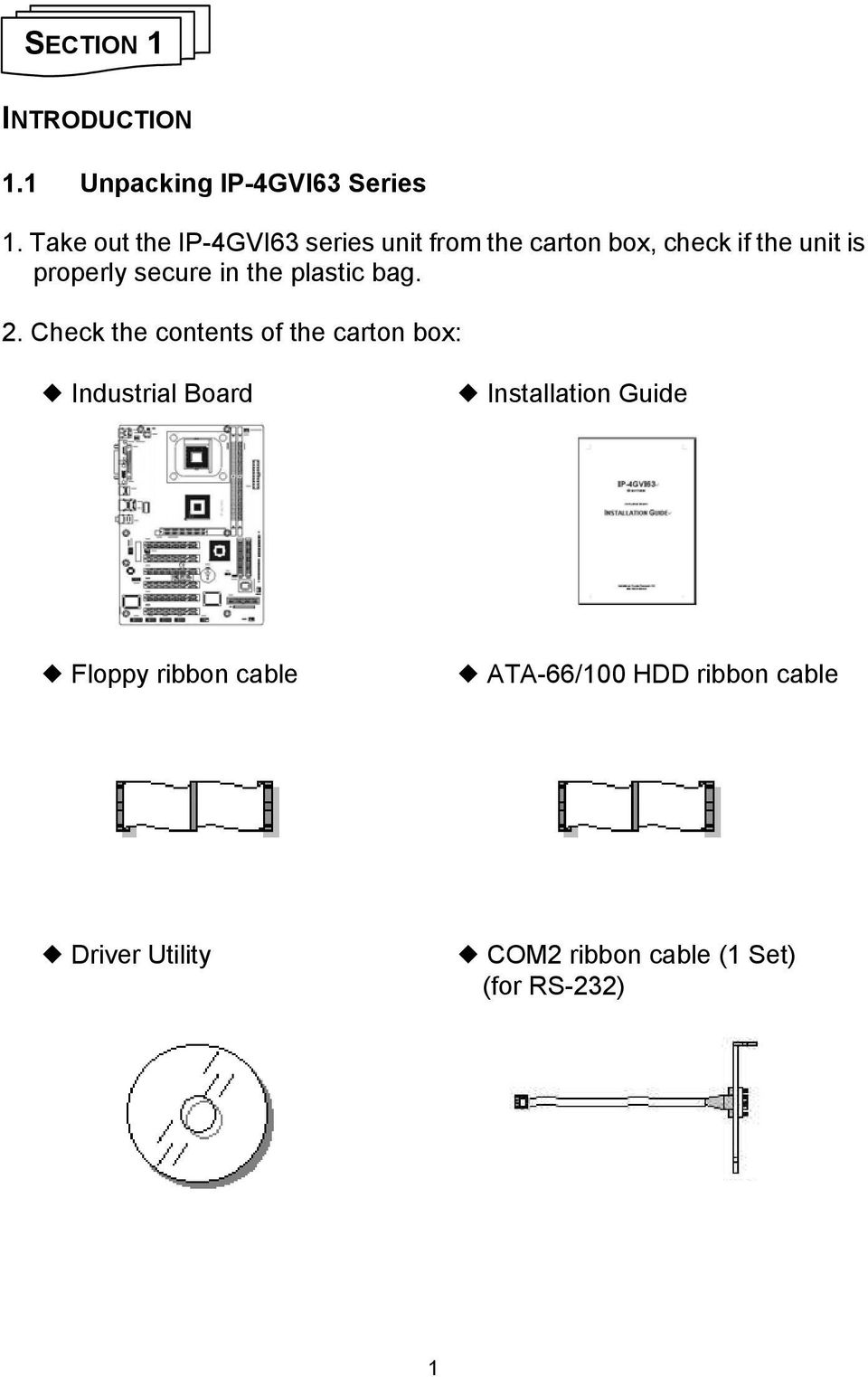 Ip 4gvi63 Series Installation Guide Industrial Board Diagram Of How All The Components Are Placed On Asus Cubx Secure In Plastic Bag 2