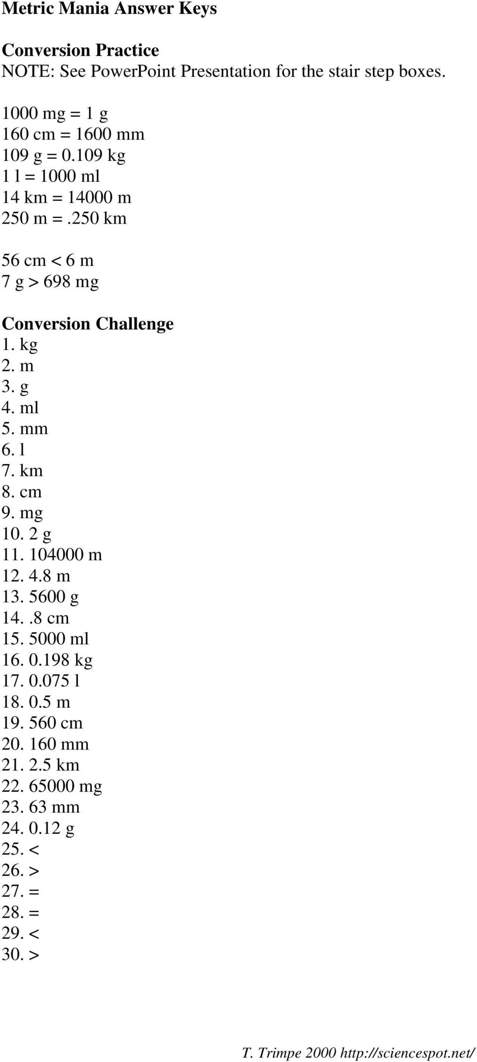 250 Km 56 Cm 6 M 7 G 698 Mg Conversion Challenge 1