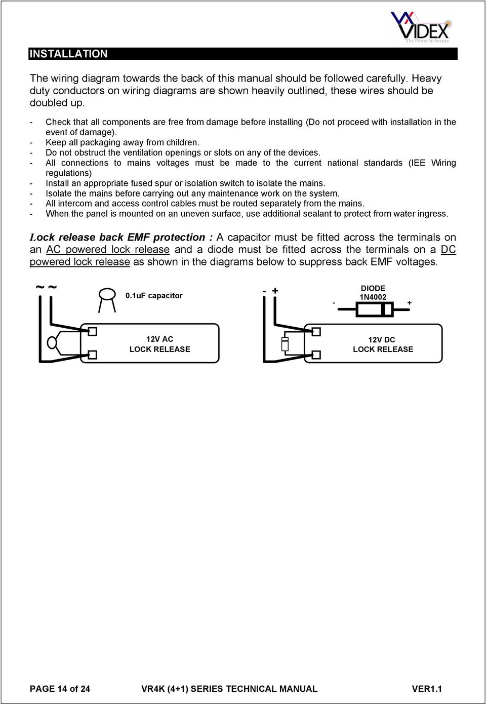 Technical Manual Edition Series 4 1 Vandal Resistant Door Entry Wiring Diagrams 3 Way Switch Diagram Fused Spur Do Not Obstruct The Ventilation Openings Or Slots On Any Of Devices