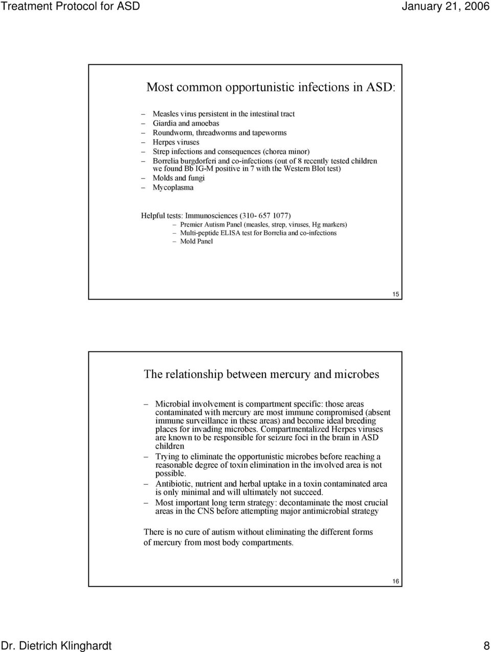 A Treatment Protocol for Autistic Spectrum Disorders (ASD