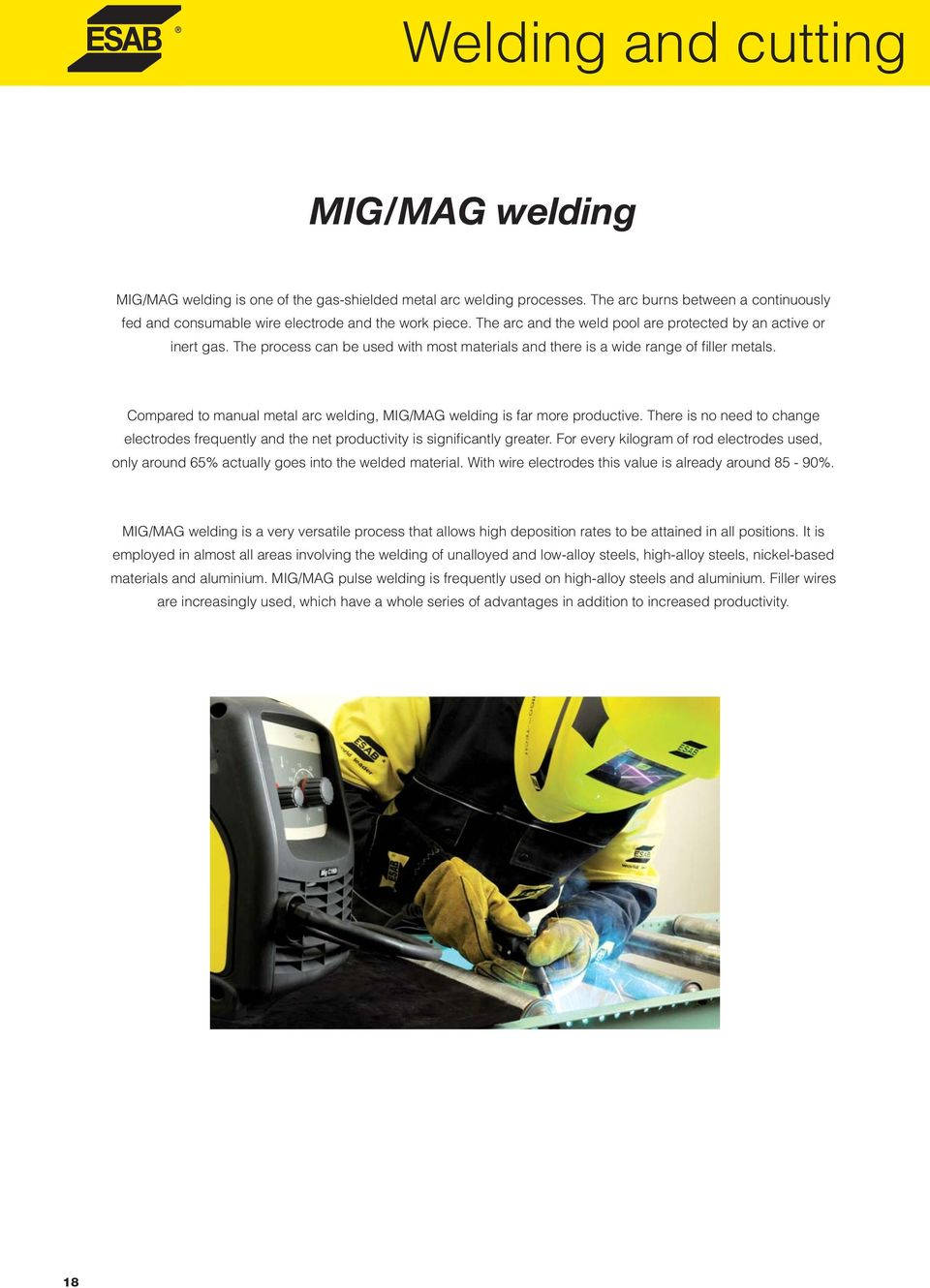 Mma Mig Mag Tig Welding Equipment And Plasma Cutting Units Pdf Welder Parts Diagram Gmaw Wire Techniques Tips Compared To Manual Metal Arc Is Far More Productive