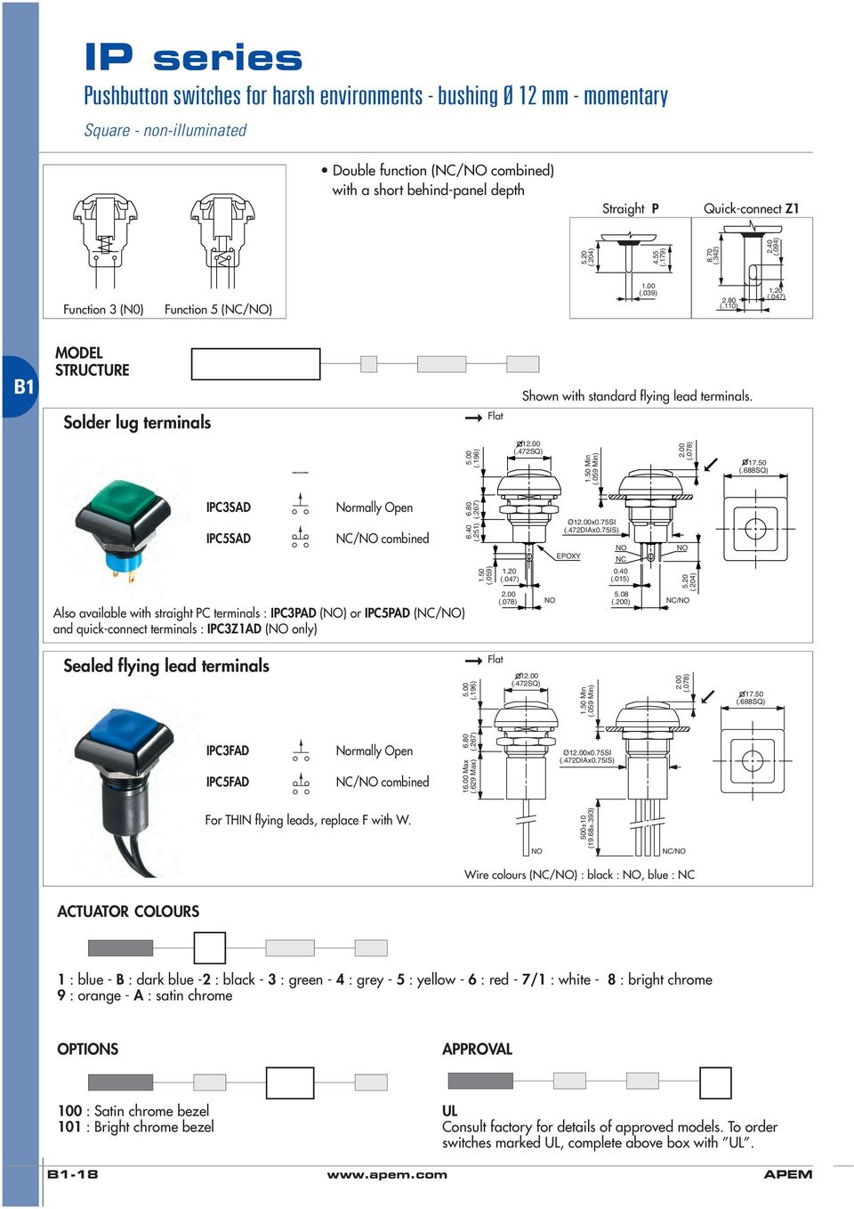 Ip Series Pushbutton Switches For Harsh Environments Bushing 12 Vandal Switch Piezo Capacitive And Circuit Protection 75si Nc Also Available With Straight Pc Terminals Ipc3pad Or Ipc5pad