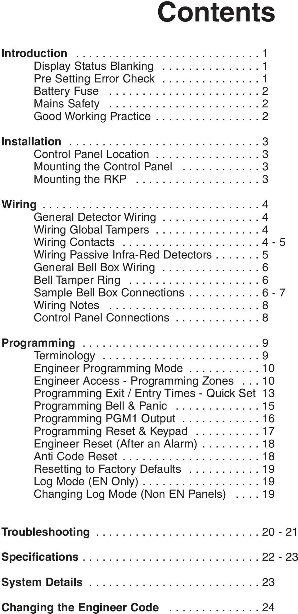 Contents Introduction 1 Display Status Blanking Pre Setting Zone Wiring Box 4
