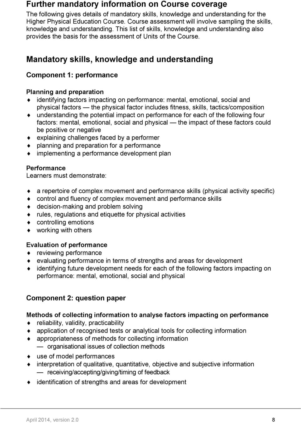 higher physical education past papers