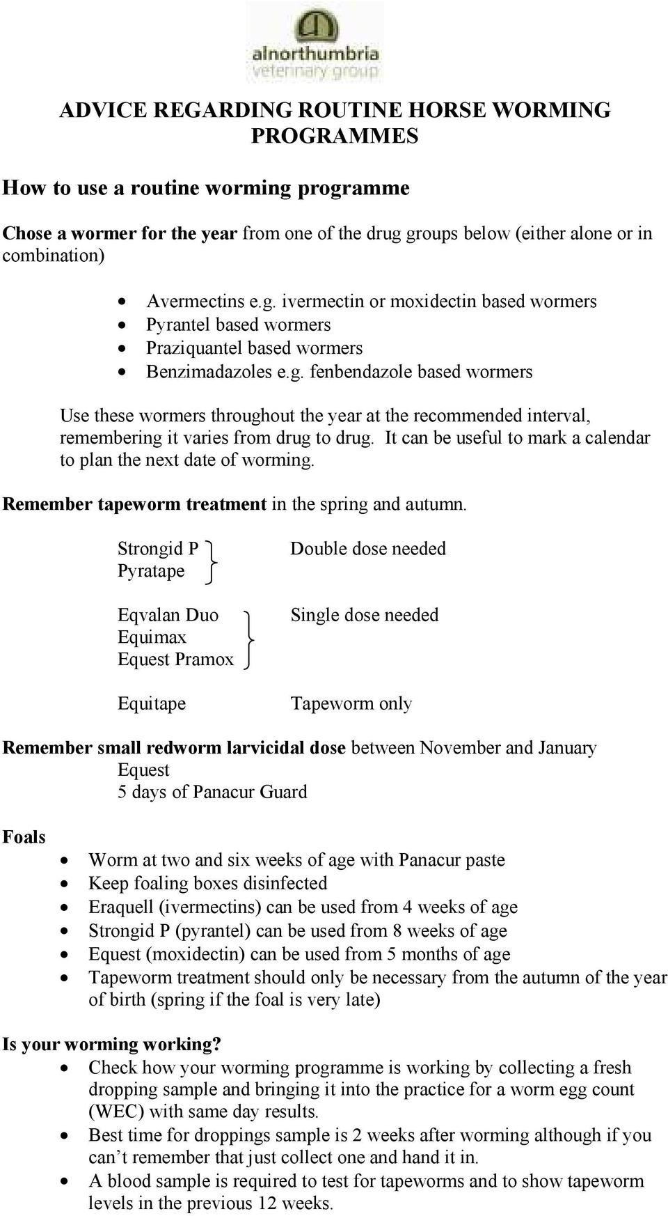 which worming method is most suitable for your horse? - pdf