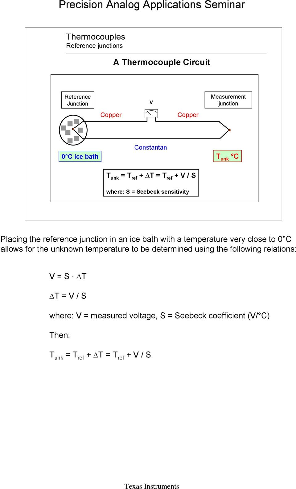 Thermocouple Application Section 3 Pdf Circuit Temperature Very Close To 0 C Allows For The Unknown Be Determined Using