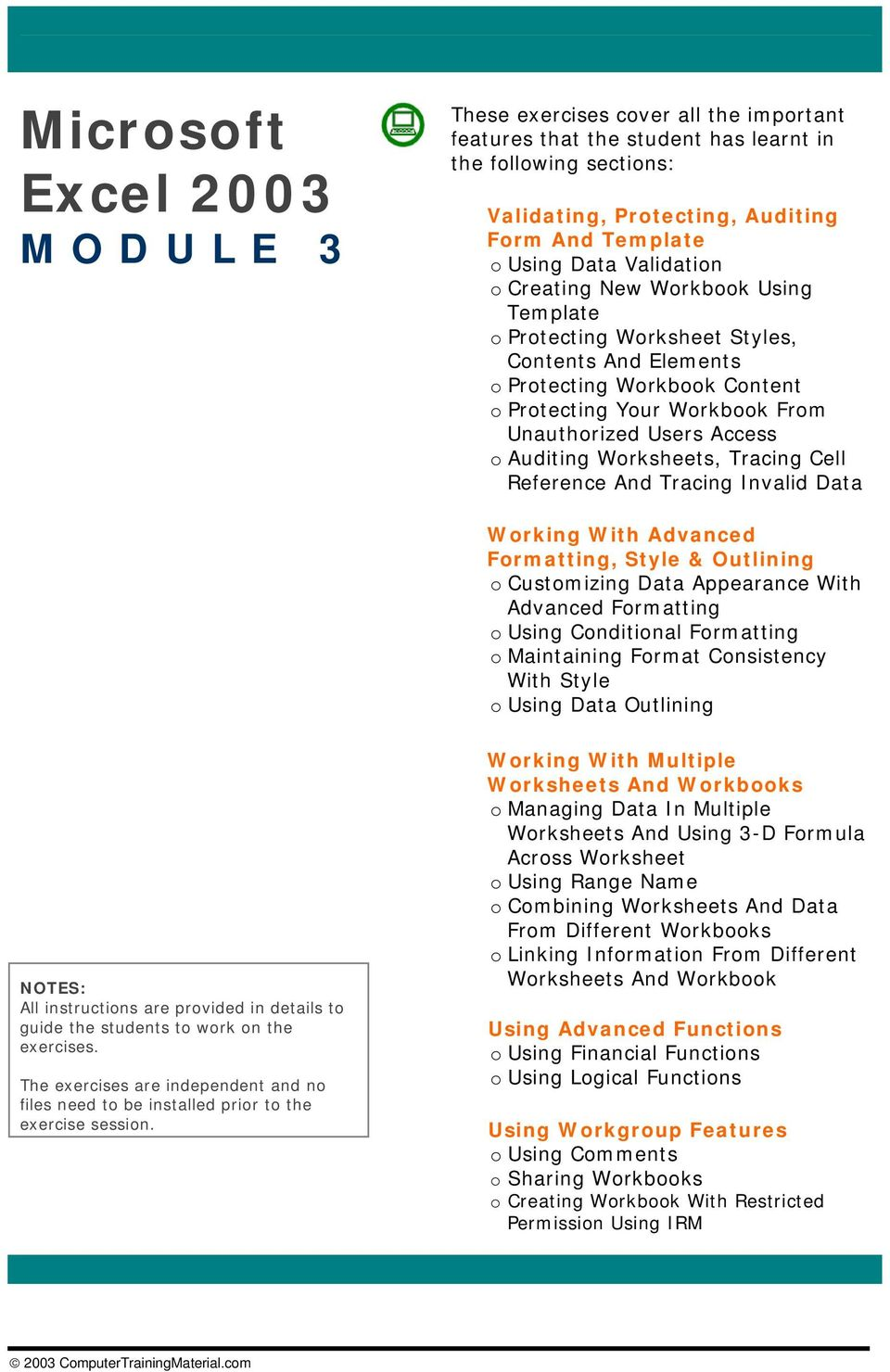 Worksheets, Tracing Cell Reference And Tracing Invalid Data Working With  Advanced Formatting, Style &