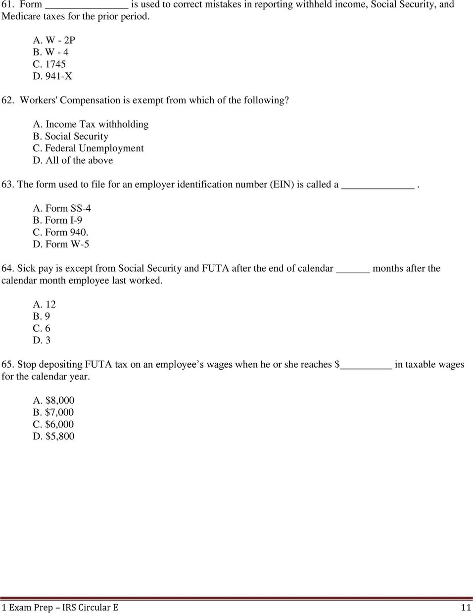 1 Exam Prep IRS Circular E Tax Guide Questions and Answers - PDF