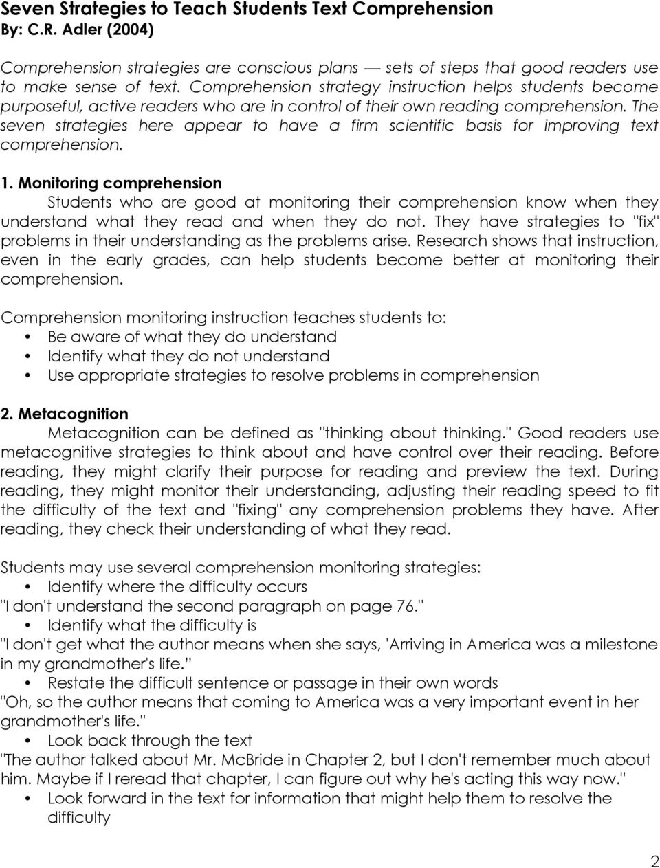 Reading Comprehension & the GED Test - PDF