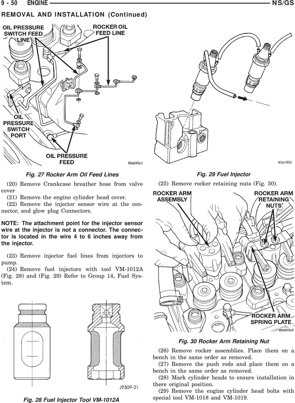 9 36 Engine Ns Gs 25l Vm Diesel Index Pdf Cylinder Diagram Note The Attachment Point For Injector Sensor Wire At Is Not A
