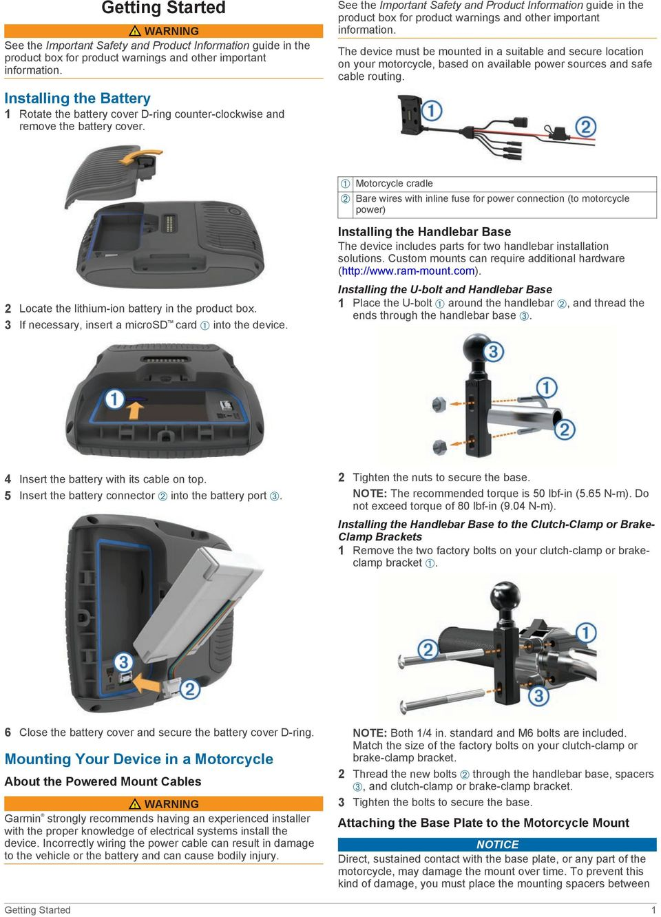 Zmo 590 Owner S Manual Pdf Garmin Zumo Wiring Diagram The Device Must Be Mounted In A Suitable And Secure Location On Your Motorcycle Based