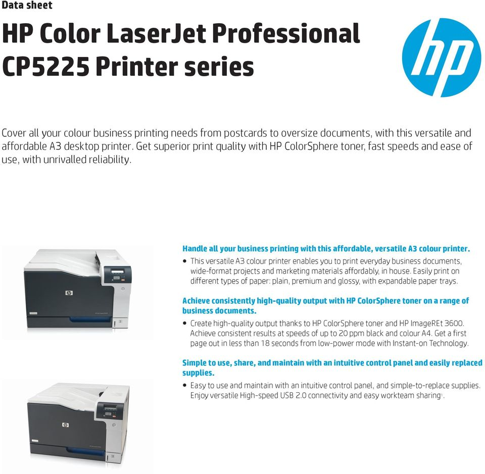 This versatile A3 colour printer enables you to print everyday business  documents, wide-format. 2 Product walkaround HP Color LaserJet ...
