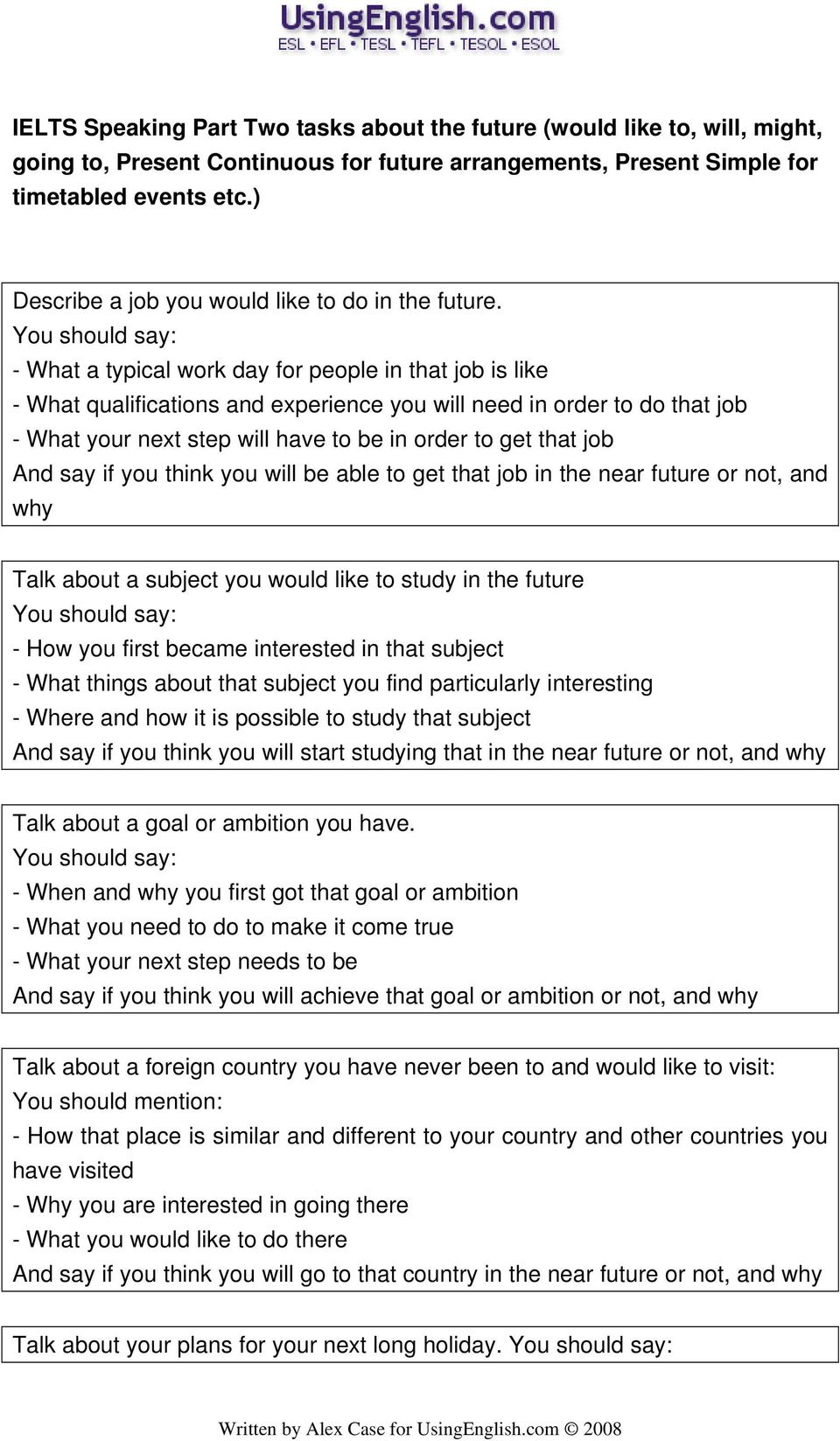 101 IELTS Speaking Part Two tasks about the Past, Present